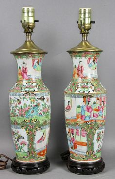 Pair 20th Century Asian Chinese Famille Rose Hand Painted