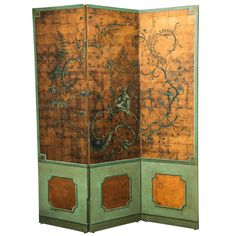 19th Century Three-Fold Chinoiserie Hand-Painted Screen | 1stdibs.com