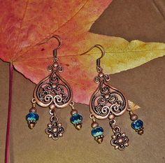Copper Chandelier Earrings Fleur dis les by JewelrybyJacobe