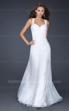 Size: Standard Size or Custom Made Size Closure: Side Zipper Details: Criss Crossed, Pleated Bust, A-Line skirt Fabric: Chiffon  Length: Floor Length Neckline: Thick Shoulder Straps Waistline: Empire Waist  Color: White Tag: White,Long,A-Line,Strapless,Thick Shoulder Straps,Homecoming Dress