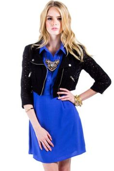 Zip Up Lace Cropped Jacket in Black
