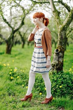 It is unintentional kismet that I'm wearing a bicycle print dress at the beginning of National Bicycle Month. Cute Skirt Outfits, Cute Skirts, Fashion Tights, Tights Outfit, Wool Tights, White Tights, Spring Outfits Women, Dress With Cardigan, How To Look Classy