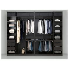 PAX Wardrobe – black-brown Undredal, Undredal glass – IKEA What's Makeup ? Glass Wardrobe, Ikea Pax Wardrobe, Ikea Closet, Wardrobe Design Bedroom, Master Bedroom Closet, Bedroom Wardrobe, Closet Storage, Bedroom Black, Closet Doors