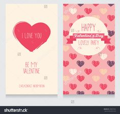 Greeting Cards For Valentine'S Day, Invitation For Valentine'S Day Party, Cute Hand Drawn Design, Vector Illustration - 238207432 : Shutterstock