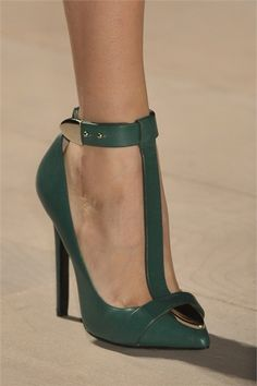Marios Schwab Green pointed-toe t-bar pump