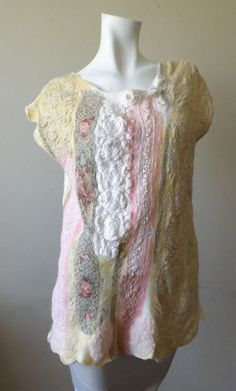 Nuno felted blouse OOAK wool cotton and silk felted by BeatasSoul