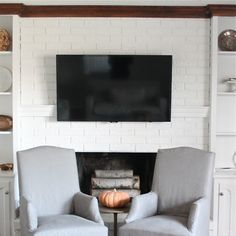 Hiding Cord on Wall Mount for Flat Screen TV | DIY Mantel - Coordinately Yours by Julie Blanner entertaining & design that celebrates life