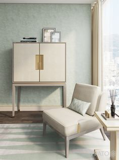 AUTUMN TOUCH The soft-touch feel of the Alpine tall cabinet leather doors gained further impetus when matched with the brasses cold penetrating touch. The very same contrasting scheme is present on the Cleef side table. Extra sensory comfort is given by the soft embrace of the world's finest wool and organic silk in its welcoming Hamptons rug, where the restful Brera chair sits sovereign and majestically. ©Frato Interiors #livingroom #InteriorDesign #armchair #tallcabinet #furniture