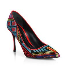 """Make an entrance with this eye-catching point-toe pump, boasting multicolored needle-print embroidery and lustrous patent piping.  Patent leather-covered heel, 3½"""" (90mm) Needle-point embroidered upper with patent leather trim Point toe Leather lining and sole Padded insole Made in Italy  AVAILABLE FOR PRE-ORDER. Exepcted to ship no later than 5/15/2014."""