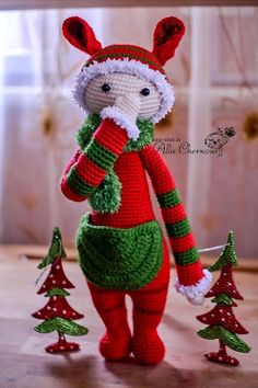 With link to patterns for sale.  Kira the Kangaroo done in Christmas colors