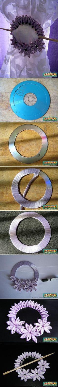 Ribbon Flower Curtain Knot from Old CD DIY | www.FabricArtDIY.com