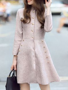Shop Pink Collar Pockets A-Line Dress online. SheIn offers Pink Collar Pockets A-Line Dress & more to fit your fashionable needs. High Street Fashion, Stylish Clothes For Women, Stylish Outfits, Jw Mode, Cute Dresses, Casual Dresses, Dress Outfits, Fashion Dresses, Frack