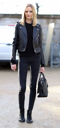 black leather jacket + skinny jeans outfit street style