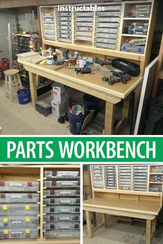 Make a parts workbench to keep all of your supplies neat and organized. shop organization Parts Workbench Workbench Organization, Workbench Plans, Woodworking Workshop, Popular Woodworking, Woodworking Furniture, Woodworking Shop, Woodworking Crafts, Diy Furniture, Woodworking Plans