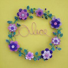 Coisas da Doris guirlanda com nome Alice