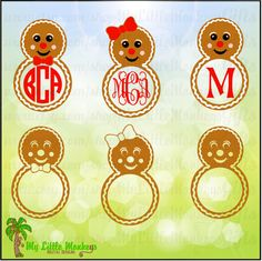 Gingerbread Boy and Girl Monogram Bases Full Color and Single Color Designs Digital File JPEG SVG Instant Download - pinned by pin4etsy.com