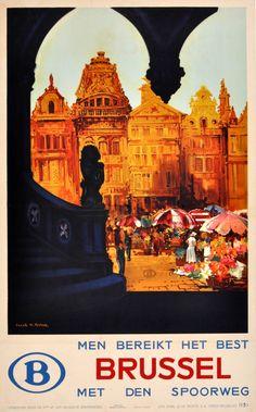 Original Vintage Posters -> Travel Posters -> Brussels Frank Henry Mason - AntikBar