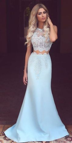 Light Blue prom dress,prom dress,Satin Prom Dress,white Lace See-through Mermaid Long Prom Dresses