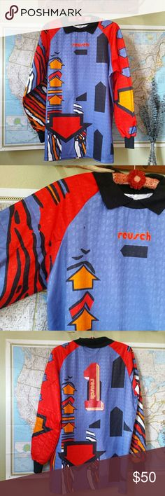 Vintage 90s nylon soccer goalie jersey Dope designs on this club kid jersey  !! Padded e07cc4a0f