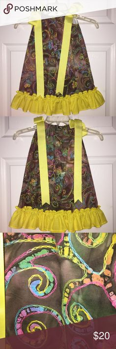 Girls Embroidered Pillowcase Boutique Dress 3T Adorable Embroidered Tie Dyed  Pillowcase Boutique Dress!  Girls size 3-4 Color: Yellow Brown Rainbow  Check out my other girls size 3-4T listings! I love giving great deals on bundles! Beans Dresses Casual