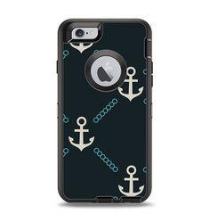 The Blue & Teal Vintage Solid Color Anchor Linked Apple iPhone 6 Otterbox Defender Case Skin Set