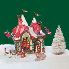 """Department 56: Products - """"Santa's Visiting Center"""" - View Lighted Buildings"""