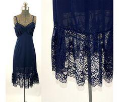 1950s slip navy blue lace full slip Van Raalte by vintagerunway