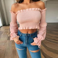 Long Sleeve Top Ribbed Elastic Pleated Frill Vintage Blouse Women Fall, Pink / S Off The Shoulder Top Outfit, Shoulder Dress, Teenager Outfits, Blouse Vintage, Cute Tops, Couture, Types Of Sleeves, Blouses For Women, Long Sleeve Tops