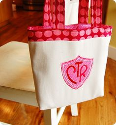 Scripture tote bag. CTR logo is a cool idea for baptisms