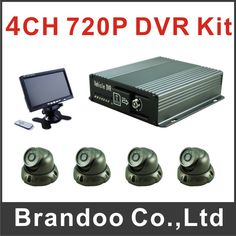 4CH 720P CAR DVR complete kit, including DVR+4 camera+7 inch monitor for bus ,taxi, train used, support Ruissian menu #Affiliate