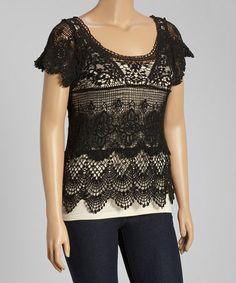Look what I found on #zulily! Black Crochet Scallop Scoop Neck Top - Plus #zulilyfinds