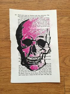 Glam Skull Book Page Painting by ThatsHighlyOffensive on Etsy https://www.etsy.com/listing/229503035/glam-skull-book-page-painting
