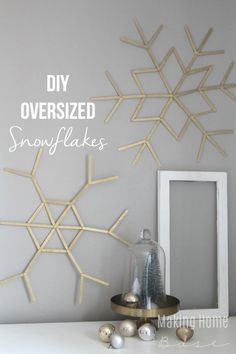 Turn an elementary school craft project into classy, shiny snowflakes.