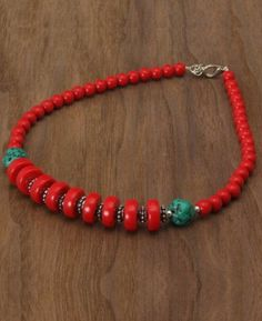 Turquoise and Red Bead Necklace - Tobona.com
