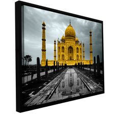 Revolver Ocelot's Taj Mahal, Gallery Wrapped Floater-framed Canvas is a high-quality canvas print of a photograph that features The world famous stoic Tajmahal, this print is black and white with exqu