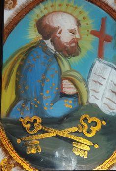 Pittura su Vetro - San Pietro cm 18x13 (particolare) (Repro)  Olio su Vetro con decori in oro. Per maggiori info contattatemi! pincisanti@hotmail.com
