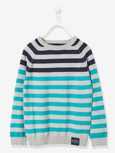 Pullover für Jungen, Streifen - AQUA MELIERT+INDIGO MELIERT+ROT MELIERT+SENF MELIERT - 1