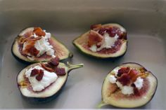 Baked Figs with Goat Cheese and Bacon  by adventuresinthekitchen: Serve warm from the oven with a drizzle of honey. #Figs #Goat_Cheese