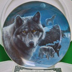 """1996 Bradford 'Realm of the Wolf' Series Collector Plate, """"Night Watch"""""""