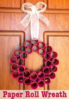 Post image for Homemade Christmas Decorations: Paper Roll Wreath Homemade paper roll Christmas wreath from recycled TP rolls. Simple enough for kids to make, looks fabulous hanging on your front door for the holidays. Christmas Toilet Paper, Homemade Christmas Decorations, Xmas Decorations, Toilet Paper Roll Art, Toilet Paper Roll Crafts, Rolled Paper Art, Diy Paper, Christmas Activities, Christmas Projects