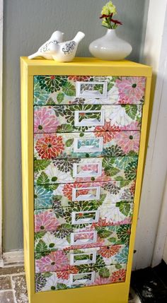 How To Make Bright Flower Dresser Of An Old One | Shelterness