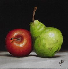"""Apple and Pear"" - Original Fine Art for Sale - © Jane Palmer"