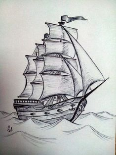 Trendy Boats Tattoo Drawing - Dibujos a lápiz - Drawing . Boat Drawing, Pencil Sketch Drawing, Ship Drawing, Pencil Art Drawings, Painting & Drawing, Drawing Drawing, Pencil Shading, Cool Art Drawings, Art Drawings Sketches