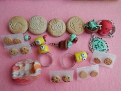 Cookie pins, minion rings, cookie earrings, the script pendant... made of polymer clay :)