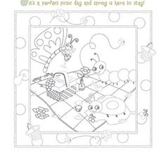 Coloring pages of picnic blanket pages page for Picnic blanket coloring page