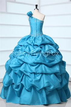 Form-fitting One Shoulder Asymmetrical Straps Ball Gown Floor Length Blue Sweet 15 Dresses