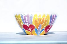 Bright bowl in yellow orange pinks and purples by Dprintsclayful, $25.98