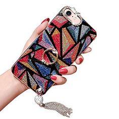 c5f811660b1a13 Paillette Etui pour iPhone 7 Plus   iPhone 8 Plus Girlyard Coque Lumineuse  Belle Anneau Bague Fine Femme Rabat Bumper Dessin Retro Diamant Etui Case  pour ...