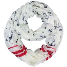 Cream Red & Navy Blue Anchor Print Lightweight Circle Scarf ($19) ❤ liked on Polyvore featuring accessories, scarves, cream, lightweight, lightweight infinity scarf, navy blue infinity scarf, lightweight scarves, lightweight infinity scarves and tube scarf