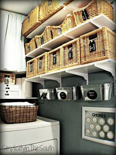 organizing a laundry room with baskets via Simplicity In The South - storage items like off season garage stuff, upper hall closet stuff, wrapping stuff